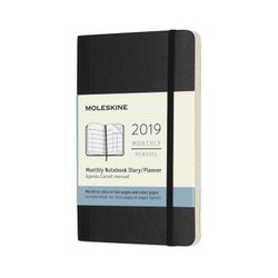 Moleskine 2019 Monthly Pocket Notebook Diary Soft Cover Black