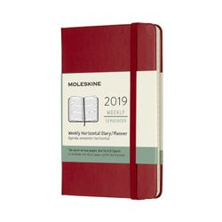 Moleskine 2019 Weekly Pocket Horizontal Planner Red Scarlet Hardcover