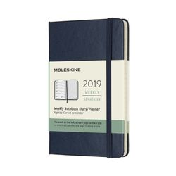 Moleskine 2019 Weekly Pocket Notebook Planner Blue Sapphire Hardcover