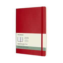Moleskine 2019 Weekly Notebook Diary Planner Extra Large Red Scarlet Soft Cover