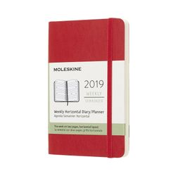 Moleskine 2019 Diary Pocket Planner Weekly Horizontal Red Scarlet Soft Cover