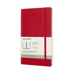 Moleskine 2019 Diary Planner Weekly Horizontal Large Red Scarlet Soft Cover