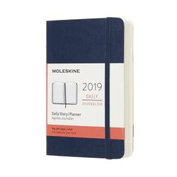 Moleskine 2019 Daily Diary Pocket Planner Blue Sapphire Soft Cover