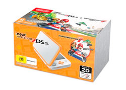 New Nintendo 2DS XL Console White Orange with Mario Kart 7
