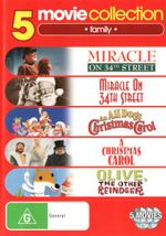 5 Movie Collection: Family (Miracle on 34th Street (1947 / 1994) / An All Dogs Christmas Carol / A Christmas Carol / Olive, the Other Reindeer)