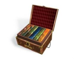 Harry Potter Set in a Hogwarts Trunk, with all 7 Hardcover Books - USA EDITION (with Stickers)