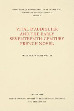Vital d'Audiguier and the Early Seventeenth-Century French Novel