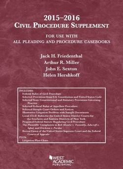 Civil Procedure Supplement, for Use with All Pleading and Procedure Casebooks